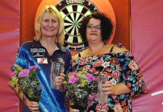Trina Gulliver and Jo Clements Czrch Darts Open Semi-Finalists